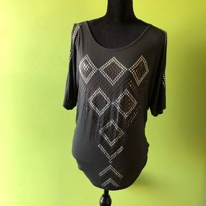 Bejeweled Cold Shoulder Modal Blouse - Sexy!